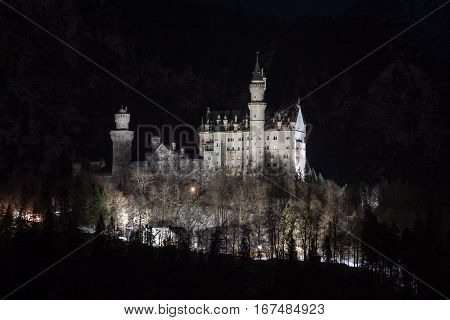 Nightshot of Neuschwanstein from Schwangau in Germany