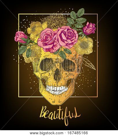 golden human skull with floral wreath. vector illustration