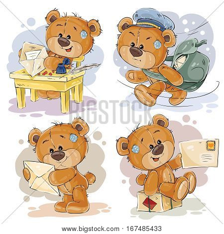 Set of vector clip art illustrations of teddy bear gets and sends letters, he postman
