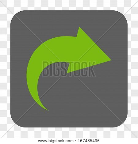 Redo interface toolbar button. Vector icon style is a flat symbol in a rounded square button light green and gray colors chess transparent background.