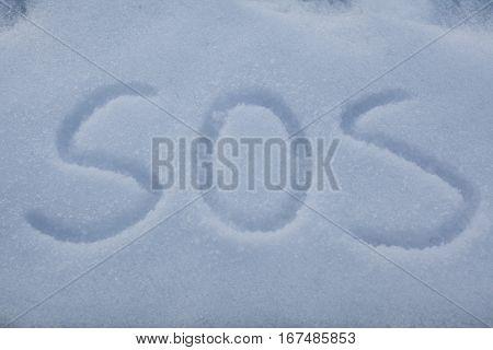 Sos Written In Snow