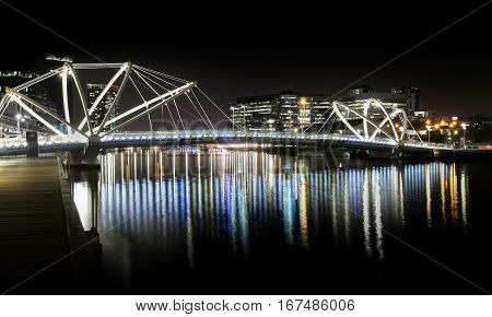 Pedestrian Bridge. A Public Bridge Crossing Yarra River, Melbourne, Australia.