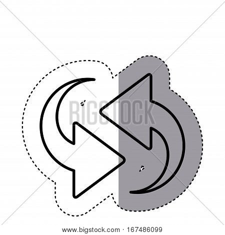 sticker silhouette arrows update in opposite directions vector illustration