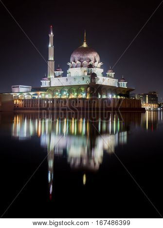 Putra Mosque in Putrajaya, Malaysia. Cityscape .