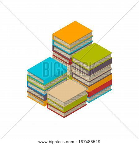 Big four stacks of new 3d colorful books and tutorials on a bookshalf. Isometric flat classbooks and textbooks icon. Education symbol logo. Illustration vector art.