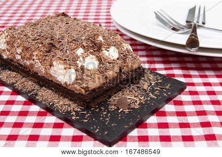 Mississippi mud pie. Slice of Mississippi mud pie.