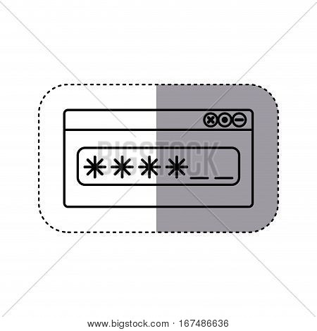 sticker silhouette Password text box with key vector illustration