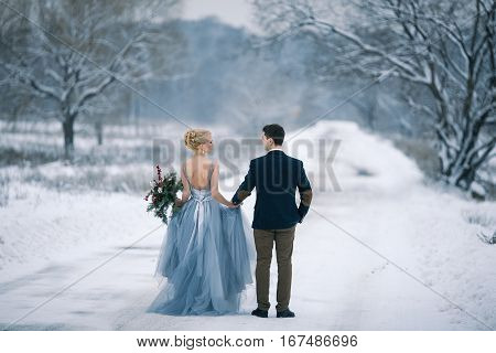 Bride and groom among snowy landscape. Bride and groom are holding hands and walk the snowy road. View from back. Winter wedding outdoors.