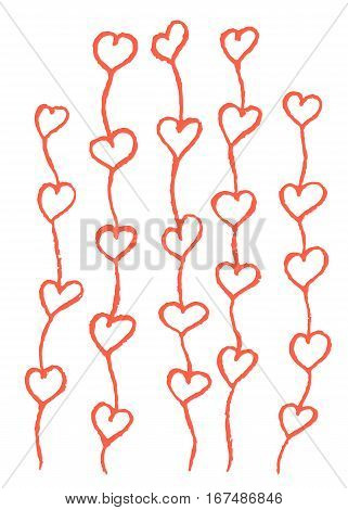 Hand drawn hearts growing up like sprouts. Distress marks, scruffy effect. Vector illustration.