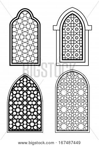 Set of islamic arch in black and white. Arabic traditional architecture. Template for design