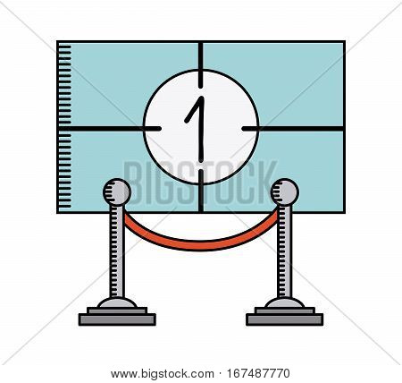 cinema player and elegant barrier icon over white background. movie and cinema concept. colorful design. vector illustration