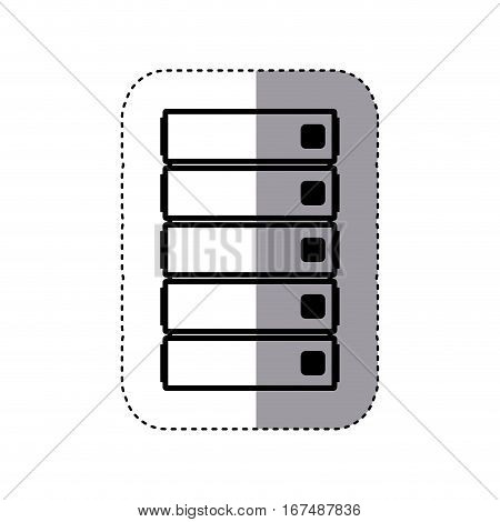 sticker silhouette file cabinet with five floor vector illustration
