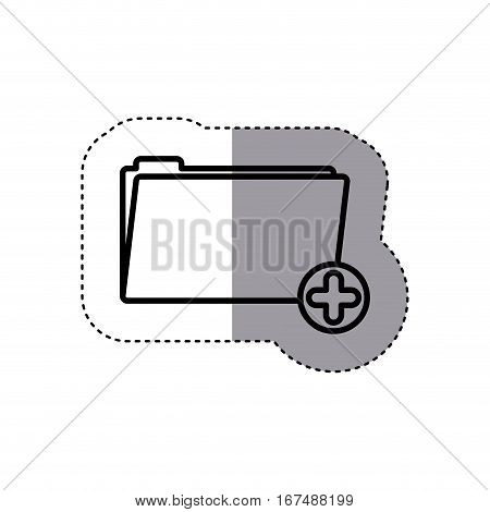 sticker silhouette folder with symbol add more vector illustration