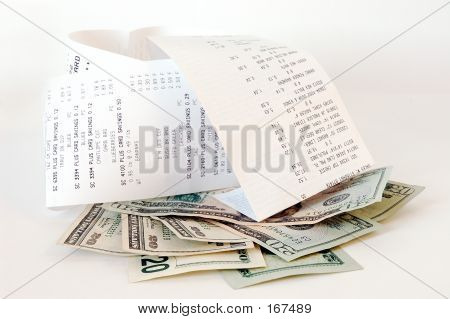 Money And Shopping Receipts