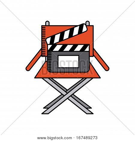 director chair and clapboard icon over white background. movie and cinema concept. colorful design. vector illustration