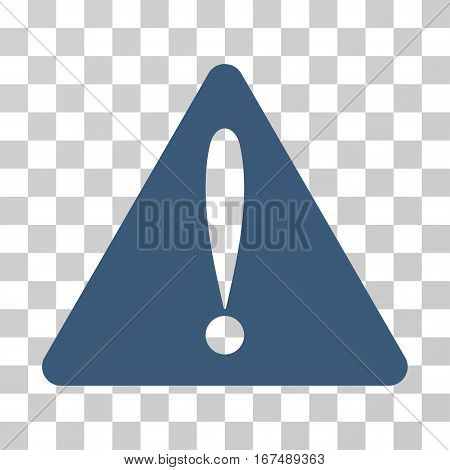 Warning Error vector pictograph. Illustration style is flat iconic blue symbol on a transparent background.