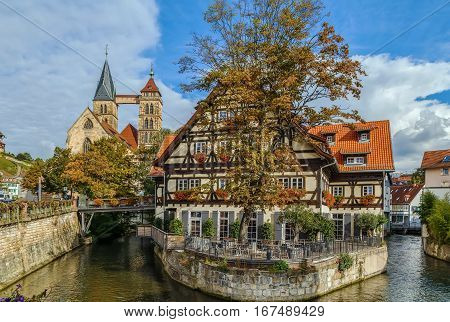View of channel with restaurant building in Esslingen am Neckar Germany