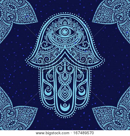 Ornament card with hamsa. Geometric circle element made in vector. Talisman ornamental hamsa, symbol Eye protection. Kaleidoscope, medallion, yoga, india, arabic