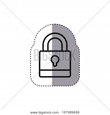 sticker silhouette padlock with black body and shackle vector illustration