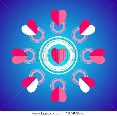 Card Valentine's Day in a flat style. Simple and original pattern of hearts and circles on a blue background.