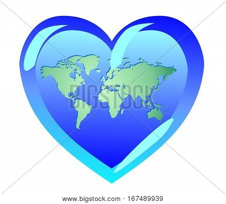 Earth in the form of heart. The world is love. Symbols of pacifism religion and ecology.