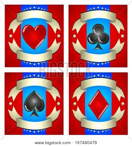 A beautiful illustration of playing cards for casinos slot machines and magic tricks. Advertising games with its attributes. Set of four symbols hearts spades diamonds clubs with a red background