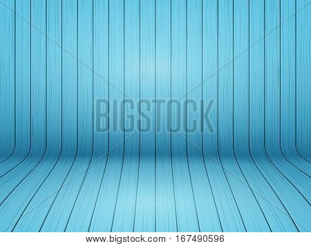Curved wooden background interior. Blue color painted backdrop. Vector Illustration.