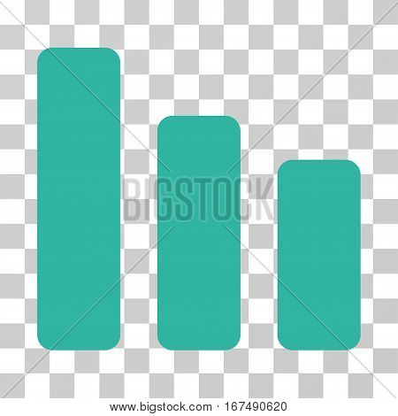 Bar Chart Decrease vector icon. Illustration style is flat iconic cyan symbol on a transparent background.