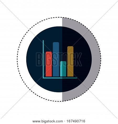 colorful sticker circular border with column chart icon flat vector illustration