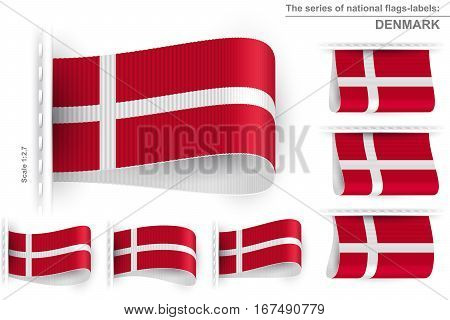 National state flag of Denmark; Sewn clothing label tag from flag of Kingdom of Denmark; Symbol of the danish national patriotic pride and political power; Vector set icon Eps10;