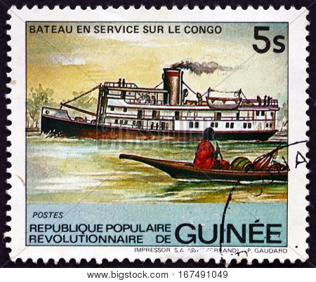 GUINEA - CIRCA 1984: a stamp printed in Guinea shows Congo River Steamer circa 1984
