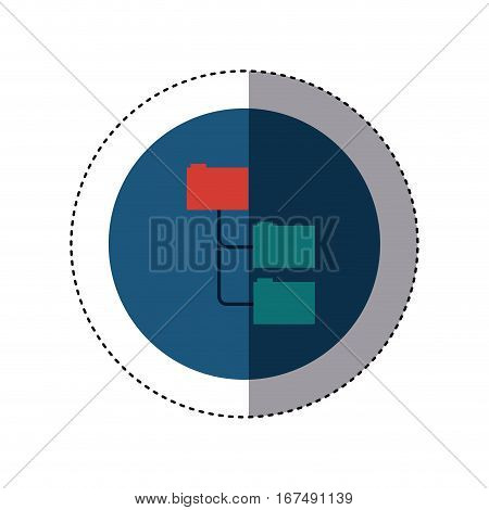 colorful sticker circular border with folders organized in line vector illustration