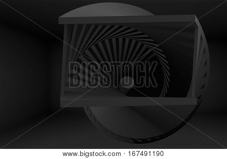Abstract Black Helix Object In Dark Room