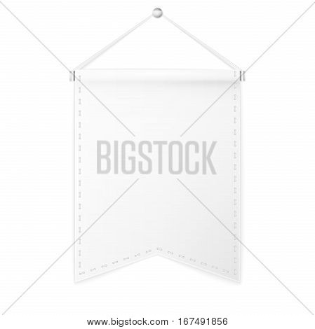 White pennant hanging on a white background. Include clipping path. Mockup.