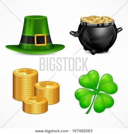 St. Patrick`s Day Symbols On White