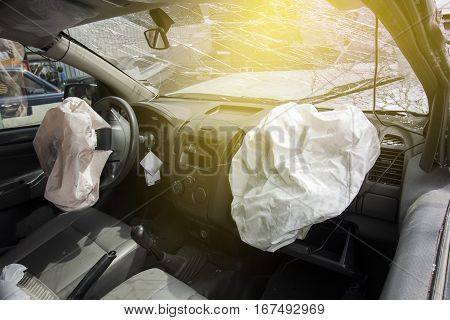 Air Bag And Front Windshield Cracked By Accident.