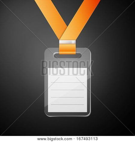 Plastic id badge with orange cord isolated on white background