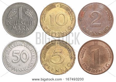 A complete set of coins of the Federal Republic of Germany isolated on white background