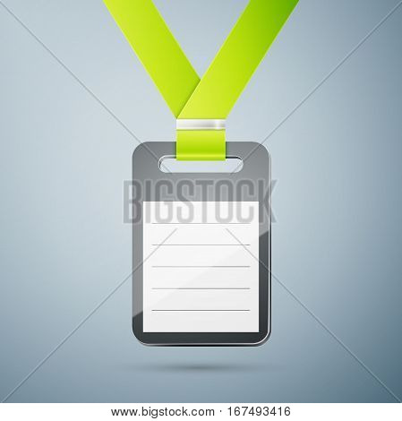 Plastic id badge with green cord isolated on light background
