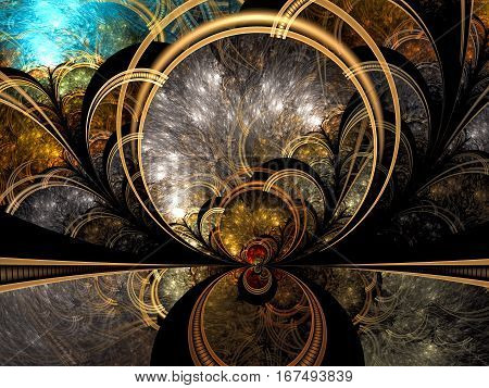 Mystic fractal background - abstract computer-generated image. Digital art: circles and curves like mystical portal, mirror ar globe. For covers, web design, posters.