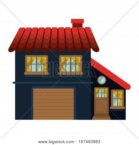 facade confortable house with garage floors vector illustration