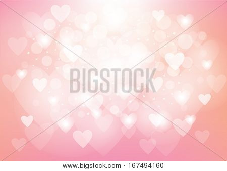 A pink hearts background in a bokeh style effect for Valentine's Day