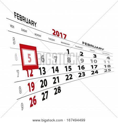 February 5 highlighted on 2017 calendar. Vector Illustration.