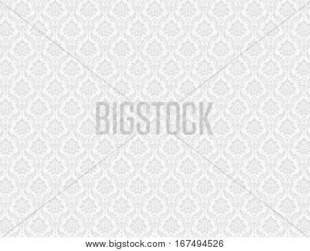 White damask background with royal floral patterns
