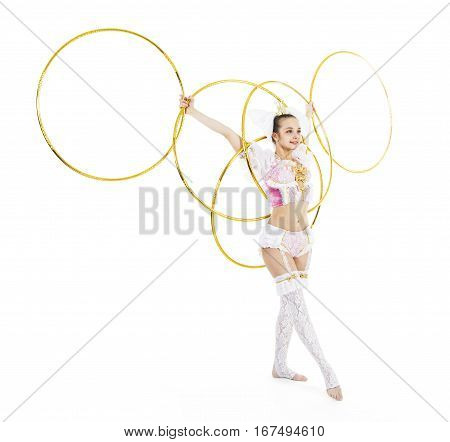 A stands with a hula hoop in the