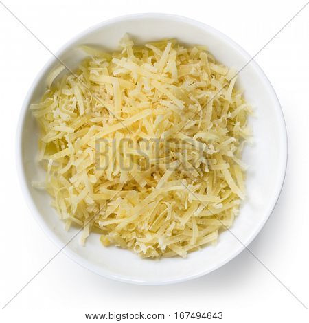 Grated parmesan cheese in small bowl, isolated on white.  Top view.