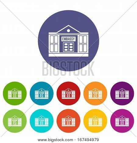 Embassy set icons in different colors isolated on white background