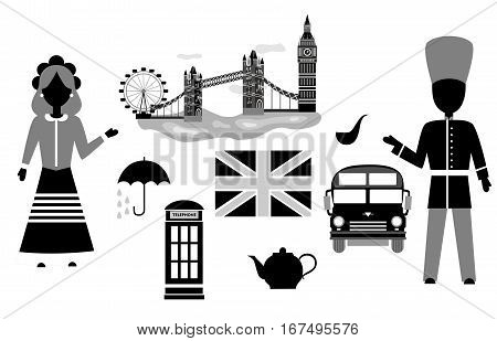 set in the style of a flat design on the theme of Great Britain.