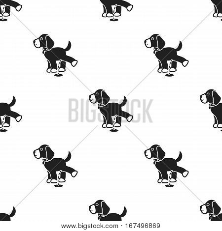 Pissing dog vector illustration icon in black design