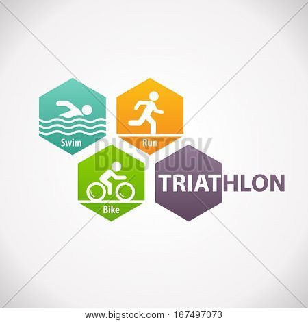 Triathlon swim bike run fitness symbol icon